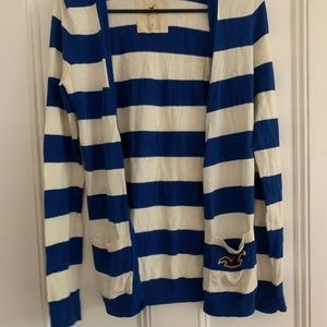 Hollister blue and white cardigan